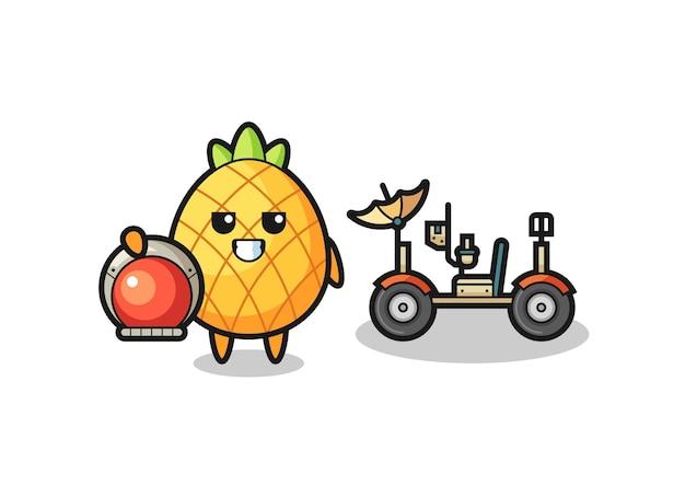 Il simpatico ananas come astronauta con un rover lunare, design in stile carino per maglietta, adesivo, elemento logo