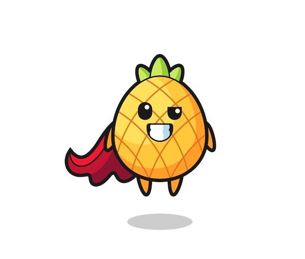 Il simpatico personaggio di ananas come supereroe volante, design in stile carino per maglietta, adesivo, elemento logo