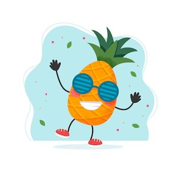 Simpatico personaggio di ananas. design estivo colorato.