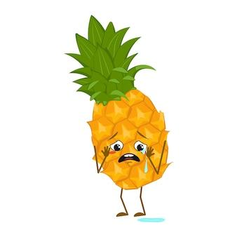 Simpatico personaggio di ananas con emozioni di pianto e lacrime, viso, braccia e gambe. l'eroe divertente o triste, frutta. illustrazione piatta vettoriale