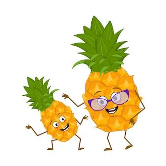 Simpatici personaggi di ananas con emozioni, viso. nonna divertente con gli occhiali e nipote che balla con braccia e gambe. l'eroe felice, frutto con gli occhi. illustrazione piatta vettoriale