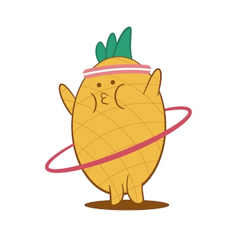 Ananas carino facendo esercizi con il personaggio dei cartoni animati di hula hoop