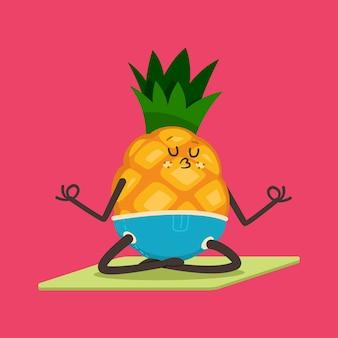 Ananas carino facendo esercizio di yoga. carattere divertente della frutta nella posa del loto isolata su una priorità bassa. mangiare sano e in forma.