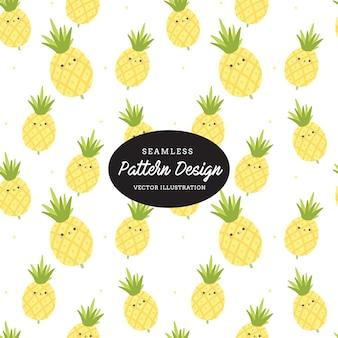 Carino ananas modello. foglie e fiori disegnati a mano, design per inviti, nozze o biglietti di auguri