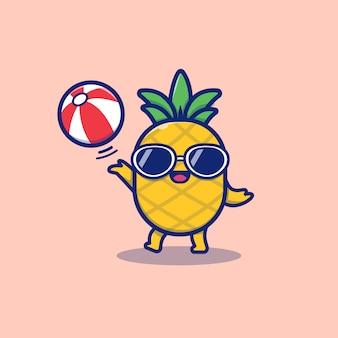 Ananas sveglio che gioca l'illustrazione dell'icona di vettore del fumetto della palla di estate. vettore premio isolato concetto dell'icona della frutta di estate. stile cartone animato piatto