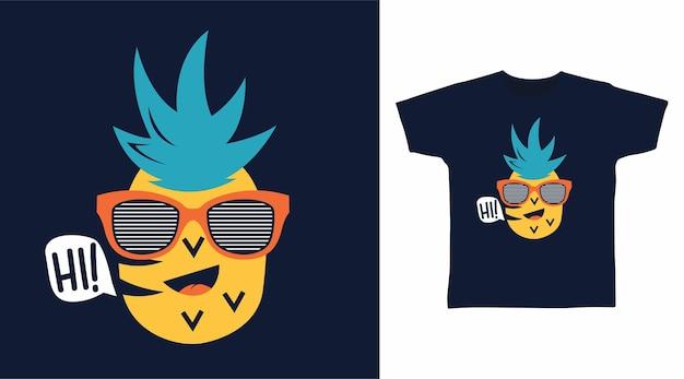 Ananas carino per il design della maglietta