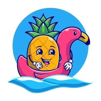 Carino ananas utilizzando flamingo nuoto galleggiante