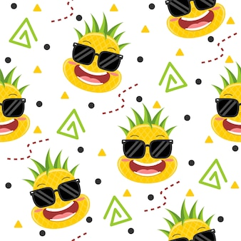 Ananas carino con illustrazioni di modelli di occhiali
