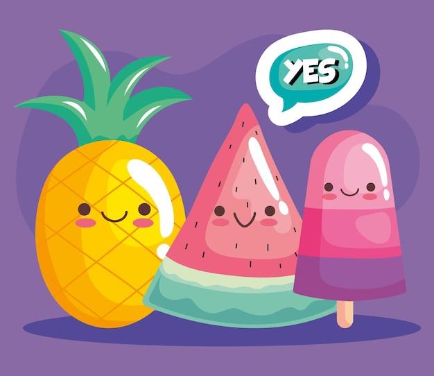 Simpatico ananas con personaggi kawaii di anguria e gelato