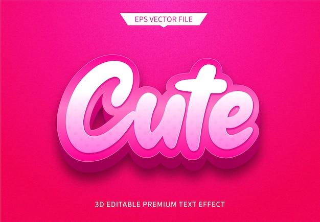 Carino rosa 3d modificabile effetto stile di testo premium vector
