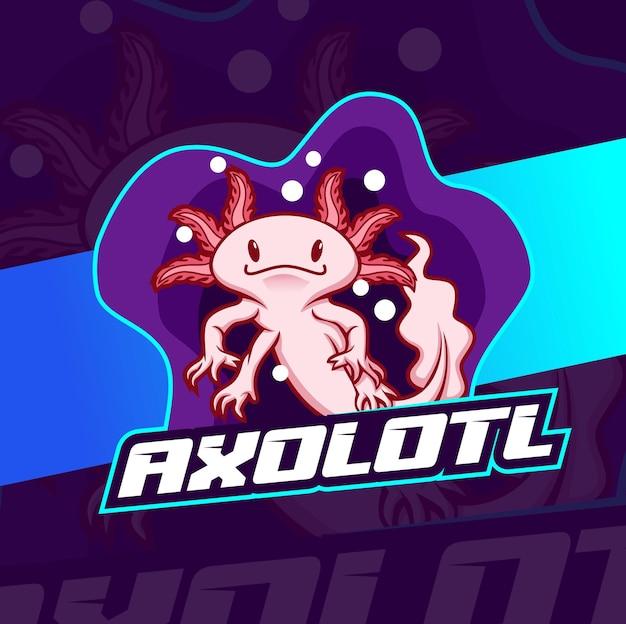 Simpatico disegno del logo della mascotte del personaggio axolotl rosa