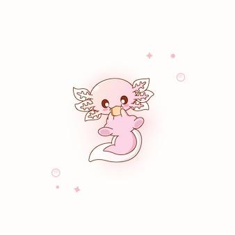 Illustrazione vettoriale di axolotl rosa carino