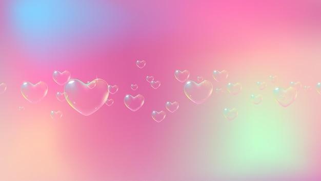 Simpatico sfondo rosa con bolle di sapone a forma di cuore color arcobaleno per il vettore di biglietto di san valentino