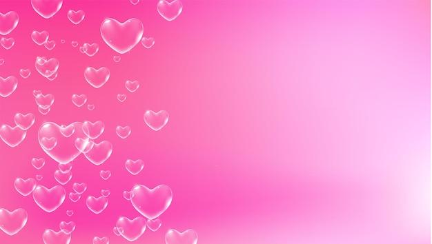 Simpatico sfondo rosa con bolle di sapone bianche a forma di cuore per il vettore di biglietto di san valentino