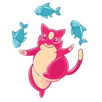 Carino gatto rosa sorridente e giocoleria pesce.