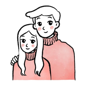 Illustrazione semplice del vestito rosa sveglio delle coppie