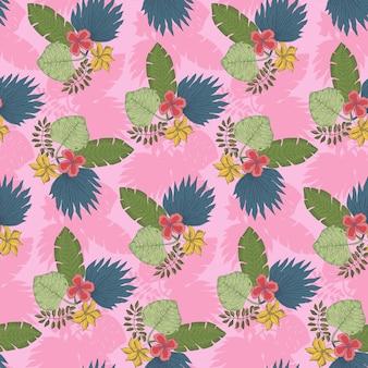 Simpatico motivo rosa con mazzi di foglie tropicali