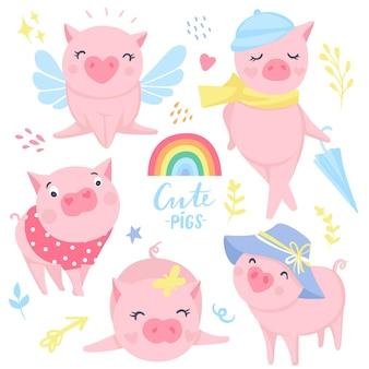 Insieme di vettore di maiali rosa carino. elementi per il design di capodanno. simbolo del 2019 sul calendario cinese. illustrazione di maiale isolato su bianco. animali del fumetto. adesivi divertenti.