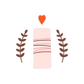 Candela romantica rosa carina con fuoco e rami a forma di cuore su sfondo bianco
