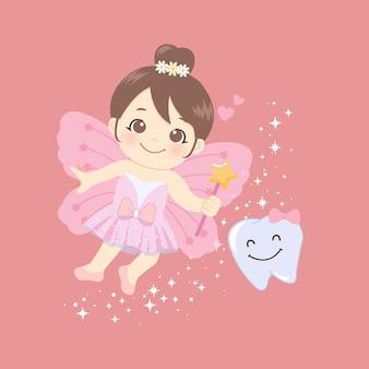 Simpatica fatina dei denti rosa con ali di farfalla e bacchetta magica.