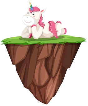 Carino unicorno rosa sull'isola galleggiante