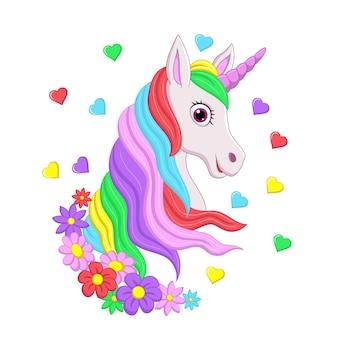 Testa di unicorno rosa carino con criniera arcobaleno, fiori e cuori