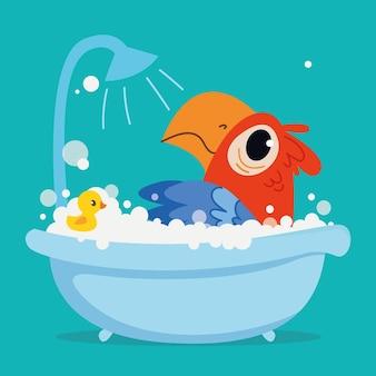Un simpatico pappagallo pirata ara fa il bagno in una vasca da bagno personaggio dei cartoni animati pulizia in bagno