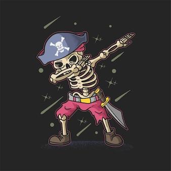 Carino scheletro pirata tamponando illustrazione vettoriale