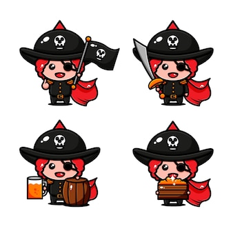 Simpatici pirati character design avventura a tema alla ricerca di un tesoro