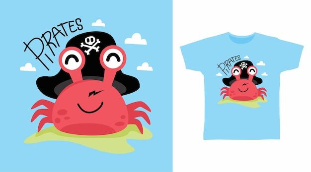 Simpatico disegno a t-shirt con granchio dei pirati