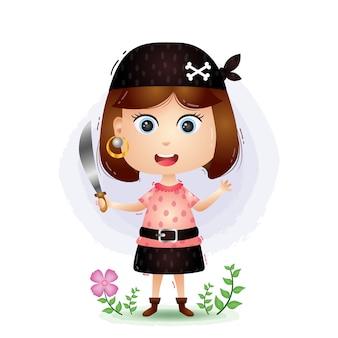 Illustrazione di ragazza carina pirati