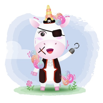 Illustrazione di vettore di unicorno carino pirati