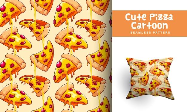 Modello senza cuciture del fumetto sveglio della pizza