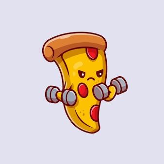 Illustrazione sveglia dell'icona del fumetto del manubrio di sollevamento della pizza.