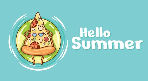 Fetta di pizza carina che galleggia rilassati con un banner di auguri estivo