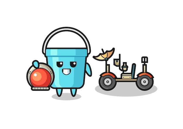 Il simpatico secchio di plastica come astronauta con un rover lunare, design in stile carino per maglietta, adesivo, elemento logo