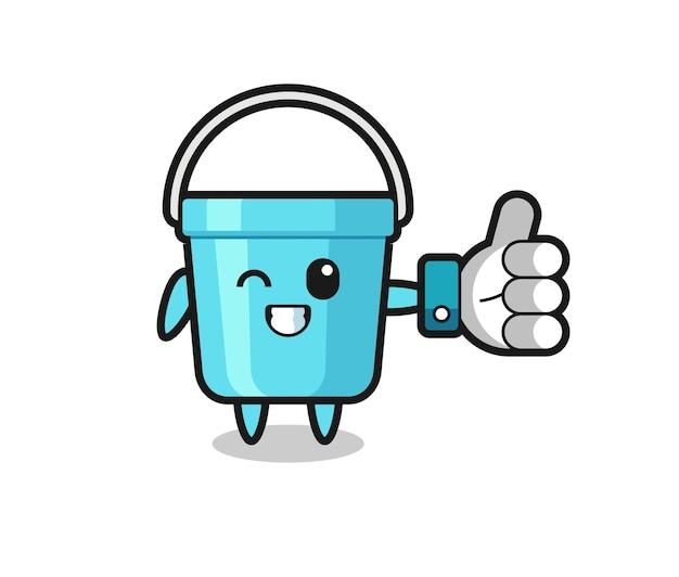 Simpatico secchio di plastica con simbolo del pollice in alto dei social media, design in stile carino per t-shirt, adesivo, elemento logo