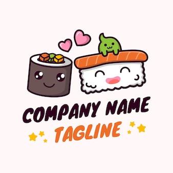 Carino e giocoso sushi illustrazioni vettoriali mascotte logo modello in sfondo bianco