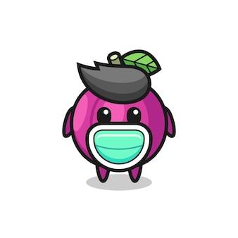 Simpatico cartone animato di frutta prugna che indossa una maschera, design in stile carino per maglietta, adesivo, elemento logo