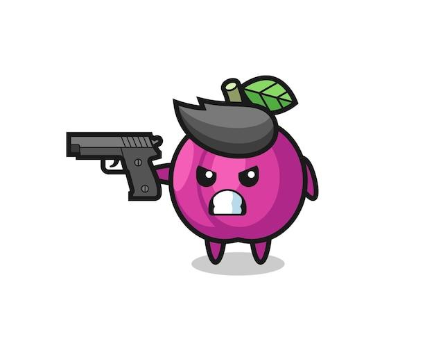 Il simpatico personaggio di frutta prugna spara con una pistola, un design in stile carino per maglietta, adesivo, elemento logo