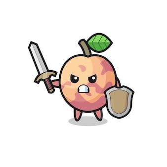 Simpatico soldato di frutta pluot che combatte con spada e scudo, design in stile carino per maglietta, adesivo, elemento logo