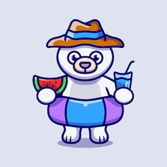Simpatico orso polare con cappello da spiaggia con anelli da bagno che trasportano anguria e bevanda