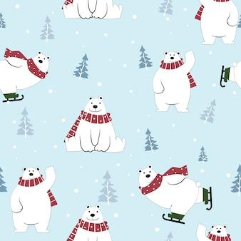 Fumetto sveglio dell'orso polare felice sul modello senza cuciture di inverno.