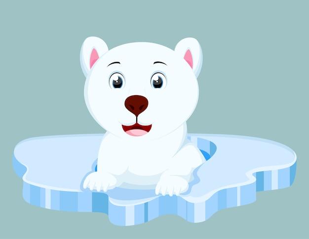 Fumetto sveglio dell'orso polare su iceberg