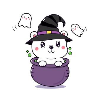 Cartone animato carino orso polare in una pentola strega per il giorno di halloween.