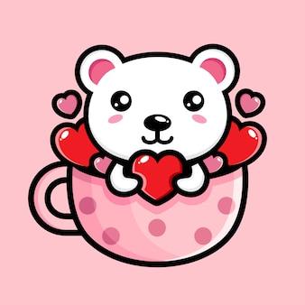 Simpatico orso polare in una tazza piena di cuori