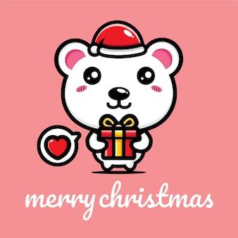 Simpatico orso polare che celebra il natale