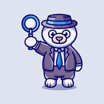 Simpatico detective dell'orso polare con una lente d'ingrandimento