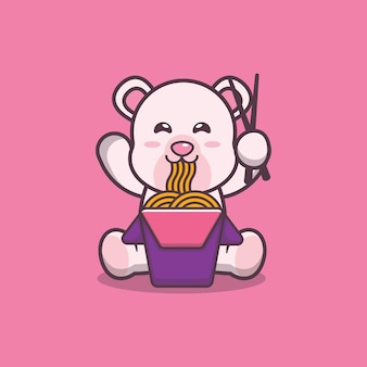 Simpatico orso polare che mangia noodle fumetto illustrazione vettoriale