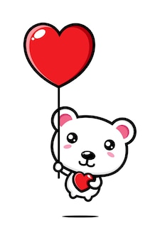 Simpatico orso polare che vola con il palloncino dell'amore